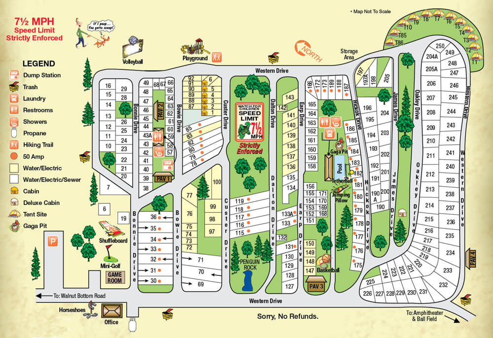 Western Village RV Park Site Map - Click on this map to view and print an enhanced PDF version.